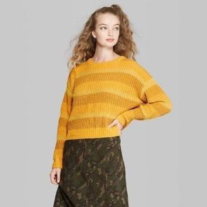 Wild Fable Cropped Golden Yellow Striped Sweater